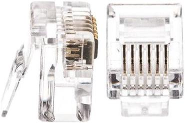 Netrack Telephone Plug RJ12 6P6C 100pcs. Transparent