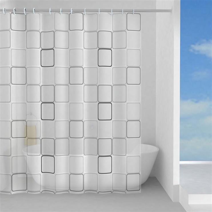 Vannas istabas aizkars Gedy Domino TVI13291830, balta/melna/pelēka, 2000 mm x 1800 mm