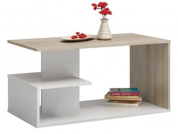 Kavos staliukas Top E Shop Dallas, baltas/ąžuolo, 910x510x400 mm