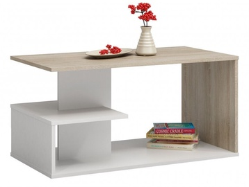 Kafijas galdiņš Top E Shop Dallas, balta/ozola, 910x510x400 mm