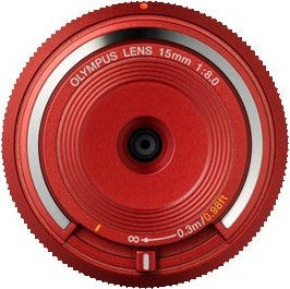 Olympus 15mm f/8.0 Body Cap Lens Pancake Red