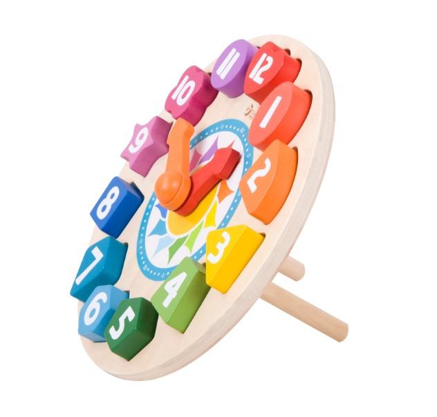 Lavinamasis žaislas, laikrodis, medinis