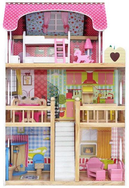 EcoToys Koka leļļu māja Raspberry Residence 4109