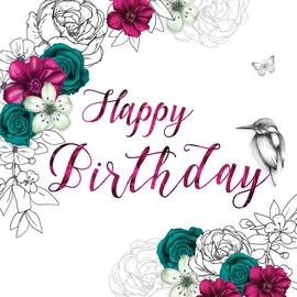 Clear Creations Teal & Fuchsia Birthday Card CL1406