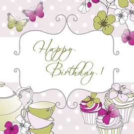 Clear Creations Tea & Cake Birthday Card CL1506