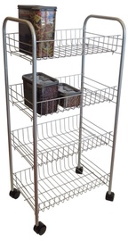 Asi Collection Rolling Cart 4 Shelves Grey