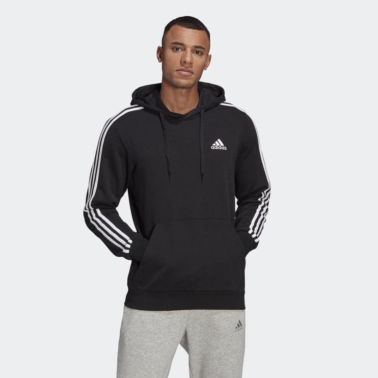 Adidas Essentials 3 Stripes Hoodie GK9062 Black M