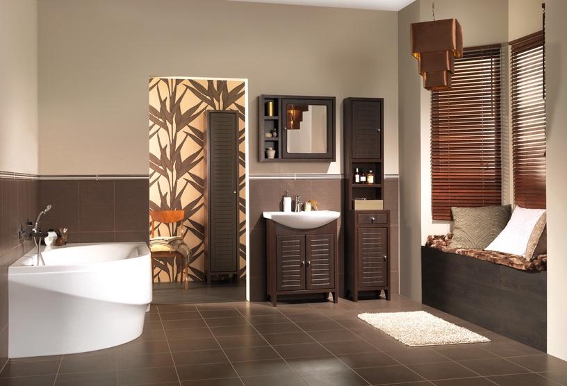 Vannas istabas skapis Cersanit Mocca 190x30cm, brūns