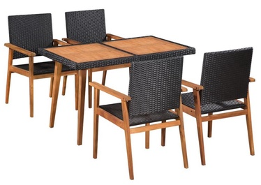 Välimööbli komplekt VLX Outdoor Dining Set 44075, must/pruun, 4 istekohta