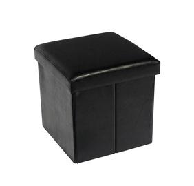 Pufas su daiktadėže, juodas, 38 x 38 x 38 cm