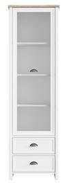 Black Red White Cannet Glass Door Cabinet White/Oak