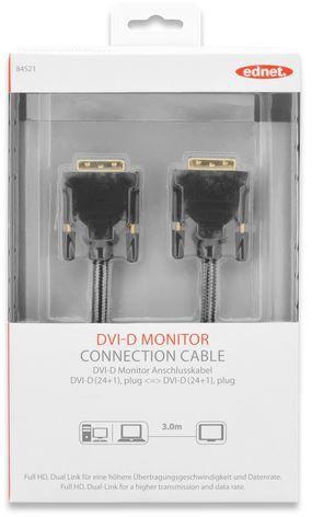 Ednet Cable DVI-D / DVI-D Black 3m