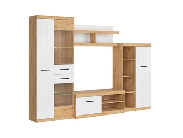 Black Red White Evora 2 Wall Unit Oak Minerva/White