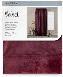 AmeliaHome Velvet Pleat Curtains Burgundy 140x270cm