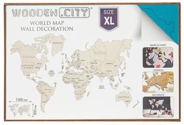 Wooden City Puzzle World Map XL Cyan 48pcs