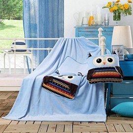 Pledas DecoKing Cuties Sky Blue Owls, 110x160 cm