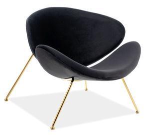 Кресло Signal Meble Major Velvet Black/Gold, 84x49x72 см