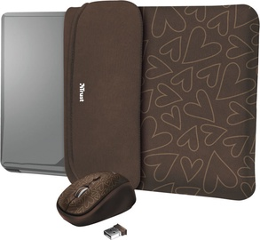 "Trust Yvo Reversible 15.6"" Laptop Sleeve + Wireless Mouse Brown Hearts"