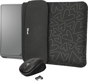 "Trust Yvo Reversible 15.6"" Laptop Sleeve + Wireless Mouse Black Hearts"