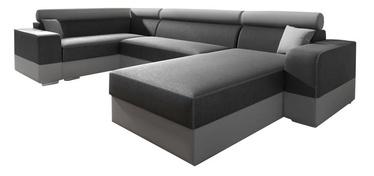 Stūra dīvāns Idzczak Meble Infinity Super Grey/Light Grey, kreisais, 332 x 185 x 93 cm