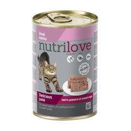 Konservuotas ėdalas katėms Nutrilove Delicious Pate, su veršiena, 400 gr
