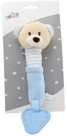 Axiom New Baby Plush Toy With Sound And Teether Teddy Bear Blue 17cm