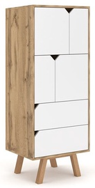 Skapis Vivaldi Meble Tokio TK4 Gold Craft Oak/White Mat, 157x42x140 cm