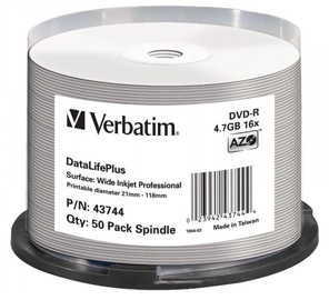 Verbatim DVD-R AZO 16X 4.7GB Wide Printable non ID 50P Spindle