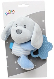 Axiom New Baby Plush Toy With Teether Dog Blue 16cm