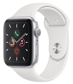 Išmanus laikrodis Apple Watch Series 5 44mm GPS Silver Aluminium Case with White Sport Band S/M and M/L