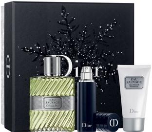 Rinkinys vyrams Christian Dior Eau Sauvage 100 ml EDT + 50 ml Shower Gel + 10 ml Refillable Spray
