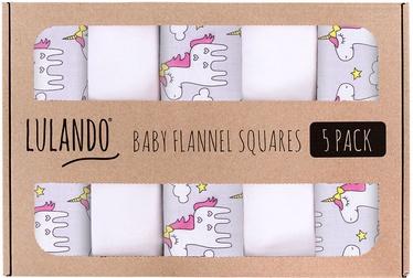 Lulando Nappies/Flannelette Nappies Set 5pcs Grey/White Unicorns