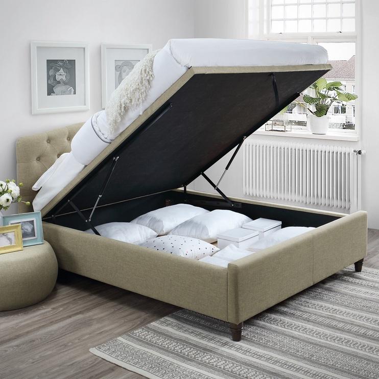 Home4you Zeta Bed w/ Mattress Olympia Top 160x200cm Beige