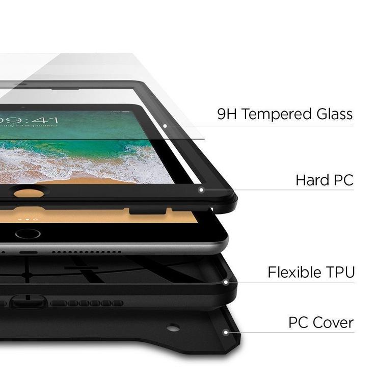 Spigen Tough Armor Tech Kickstand Case + Tempered Glass For Apple iPad 9.7 2018/2017 Black