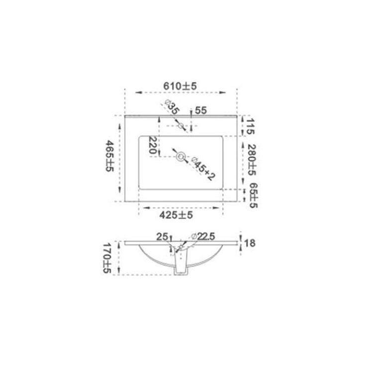 Izlietne Futura ACB7606 60x18x46,5cm, balta