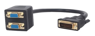 Gembird Adapter DVI-i / VGA x2 Black 0.3m