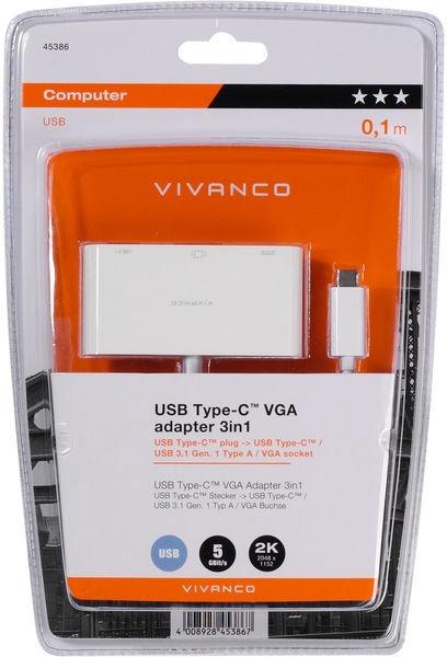 Vivanco USB Type-C VGA Adapter 3in1 45386