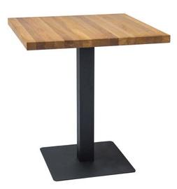 Pusdienu galds Signal Meble Puro Lity Oak Black, 700x700x760 mm