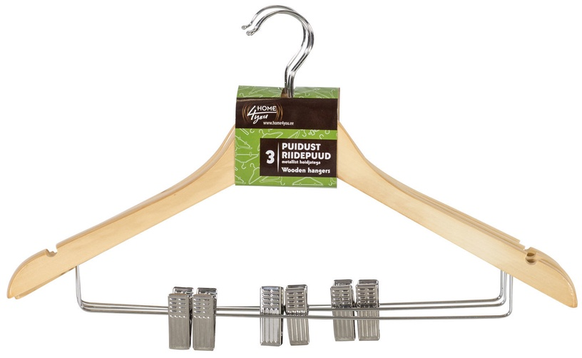 Home4you Wooden Hangers 3pcs With Clamps Light