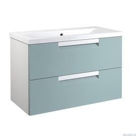 Apatinė spintelė su praustuvu 81 cm, 2 stalčiai, jūrinė mėlyna / matinė balta