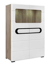 Black Red White Byron REG2W LED Glass Cabinet San Remo Oak/Glossy White