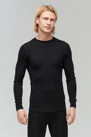 Audimas Merino Wool Rib Knit Long Sleeve Base Layer Top Black S