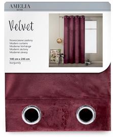AmeliaHome Velvet Curtains Burgundy 140x245cm