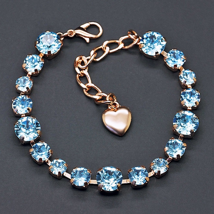 Diamond Sky Bracelet Classic IV Aquamarine Blue With Swarovski Crystals