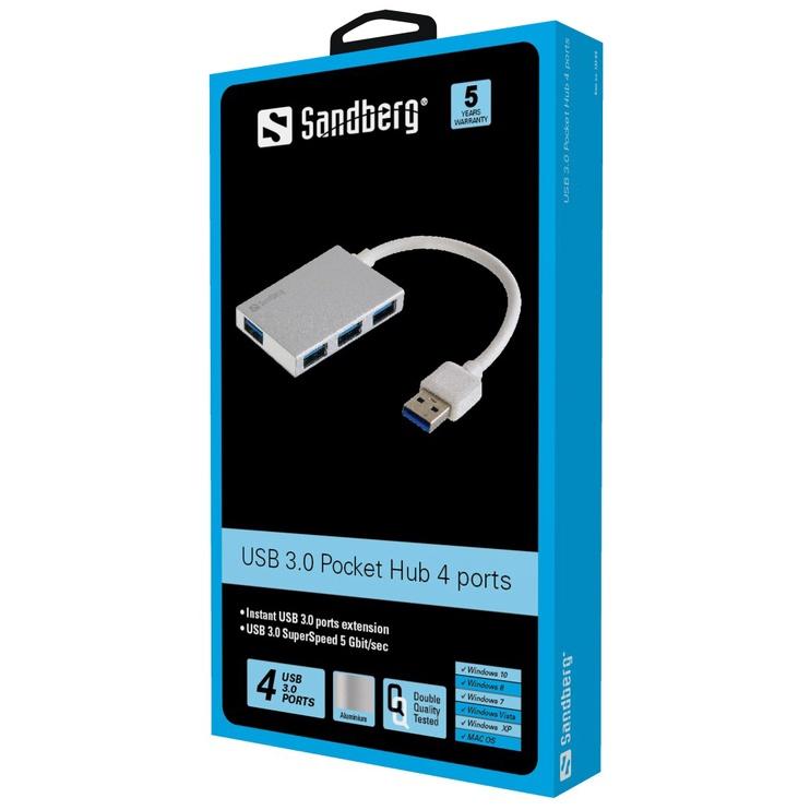 USB-разветвитель Sandberg Pocket 133-88, 10 см