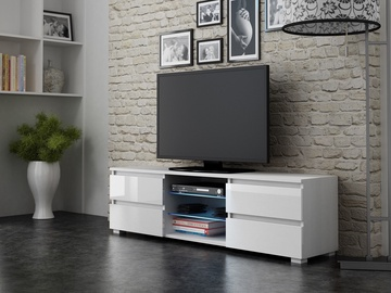TV galds Pro Meble Milano 150 With Light White, 1500x350x420 mm