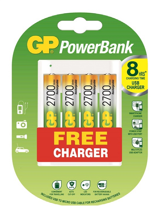 Bateriju komplekts GP AA 4 gab. + lādētājs