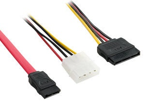 4World SATA Cable + Power Supply Red