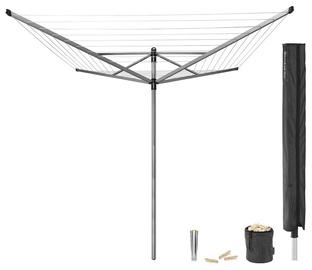 Уличная сушилка Brabantia Lift-O-Matic, 50 м навески, с металлическим основанием для установки сушилки в землю, с защитным чехлом, мешком для прищепок, прищепками, Grey