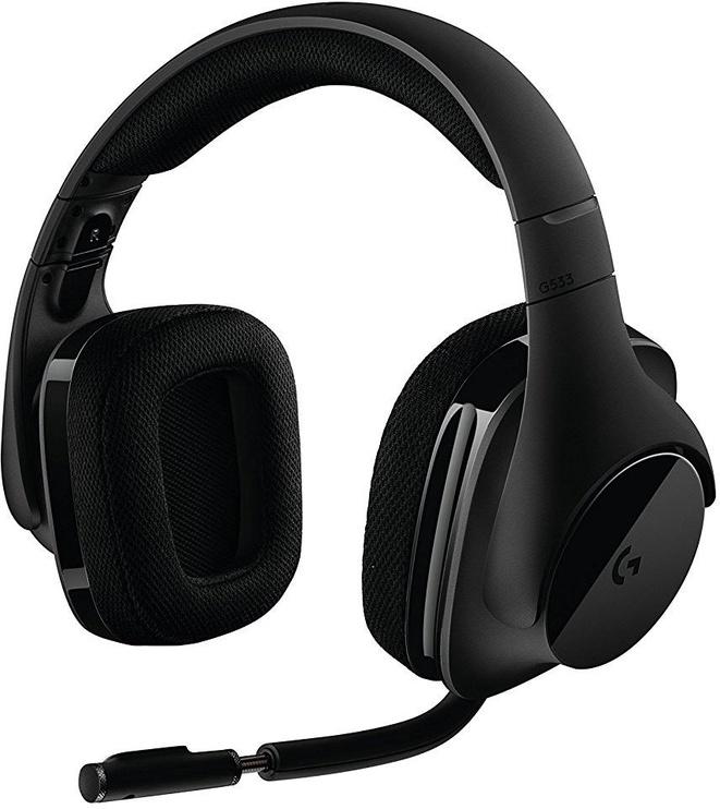 Žaidimų ausinės Logitech G533 Black, belaidės